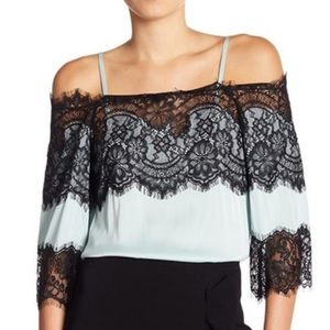 Aqua and black lace off the shoulder top